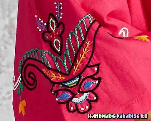 Вышивка на рукавах летней блузы (4)