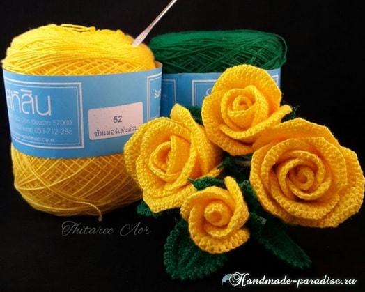 Желтые розы крючком. Мастер-класс (3)