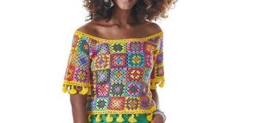 Блуза крючком бабушкиными квадратами (1)