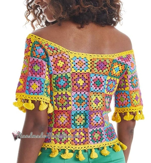 Блуза крючком бабушкиными квадратами (2)