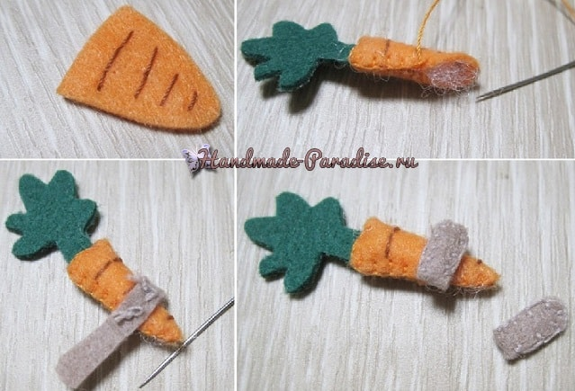 Из фетра. Зайка с морковкой на катушке (4)