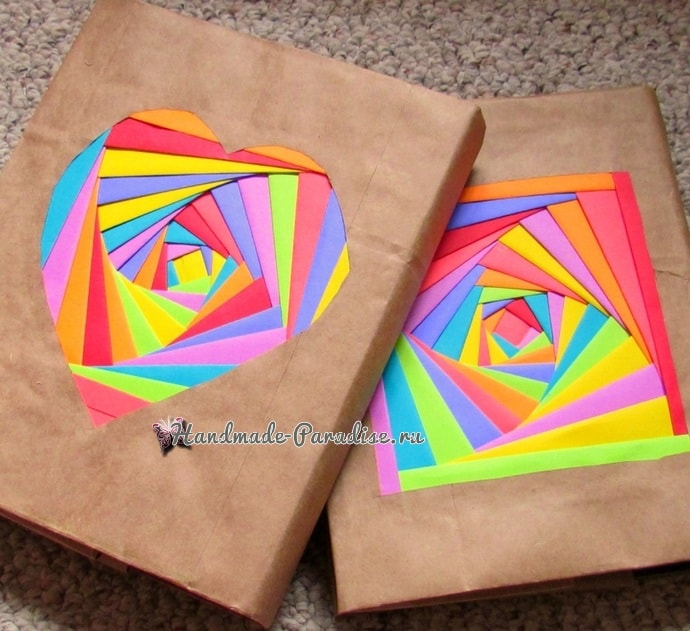 Из упаковочной и цветной бумаги. Обложка для книжки (1)