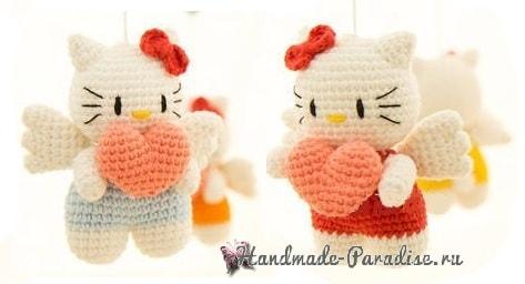 Котенок-ангел с валентинкой. Амигуруми