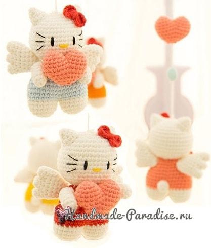 Котенок-ангел с валентинкой. Амигуруми (3)