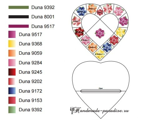 Крючком. Подушка-сердце с цветами (1)