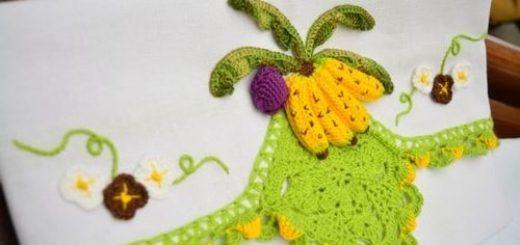 Кухонное полотенце с бананами и обвязкой крючком (2)