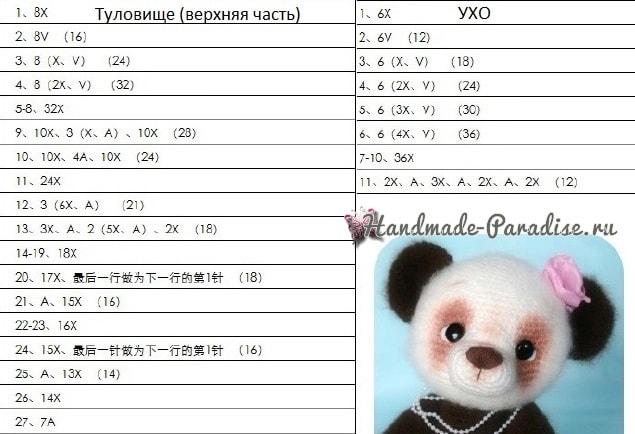 Медвежонок ПАНДА. Амигуруми крючком (3)