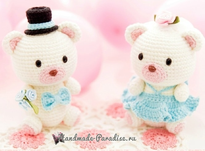 Медвежья свадьба. Жених и невеста амигуруми (3)