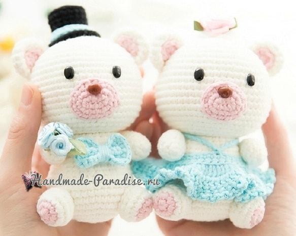 Медвежья свадьба. Жених и невеста амигуруми (5)