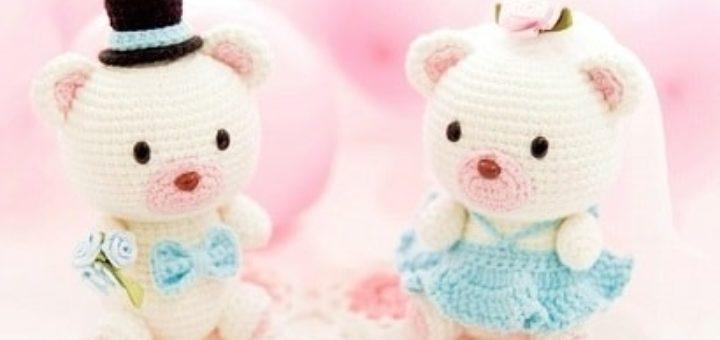 Медвежья свадьба. Жених и невеста амигуруми (7)
