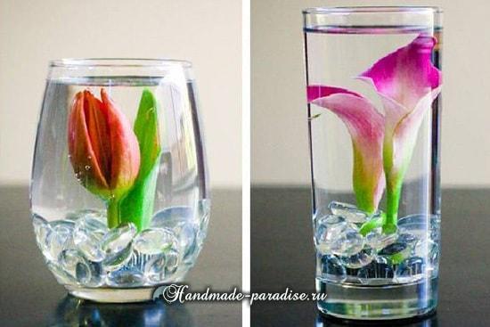 Цветы в стакане для украшения праздничного стола (1)