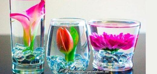 Цветы в стакане для украшения праздничного стола (2)