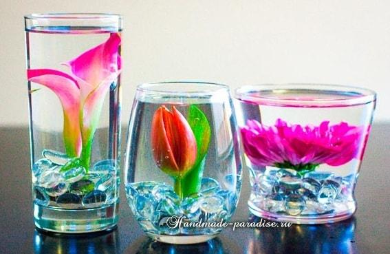 Цветы в стакане для украшения праздничного стола (3)