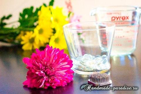 Цветы в стакане для украшения праздничного стола (4)