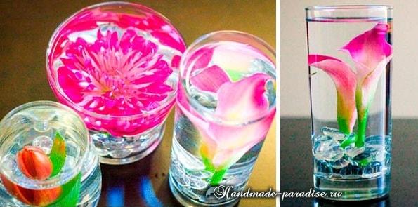 Цветы в стакане для украшения праздничного стола (8)