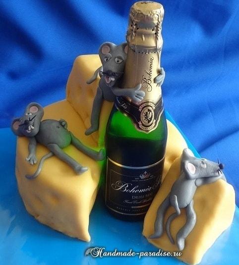 Торт из мастики для мужчины. Тема спиртного (3)