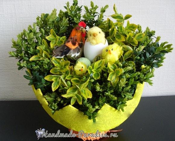 Декоративная вазочка «Пасхальное яйцо» из кокоса (1)