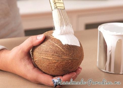 Декоративная вазочка «Пасхальное яйцо» из кокоса (3)