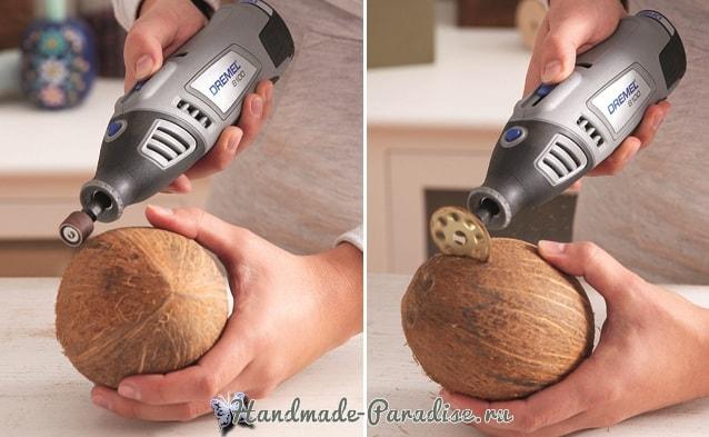 Декоративная вазочка «Пасхальное яйцо» из кокоса (4)
