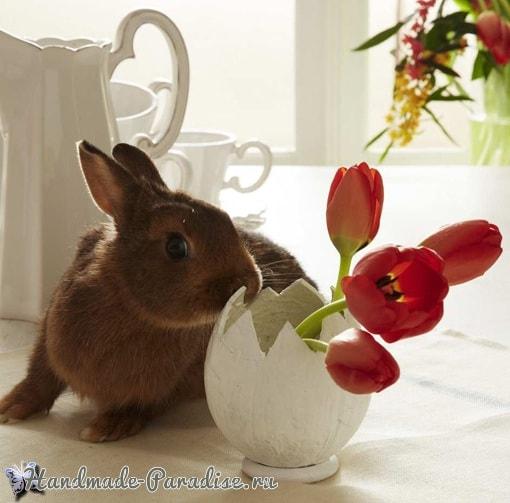Декоративная вазочка «Пасхальное яйцо» из кокоса (5)