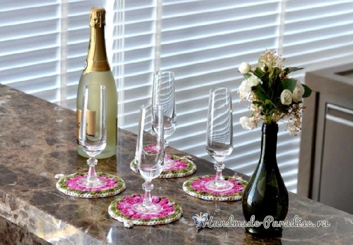 Декоративные цветочные подстаканники крючком (2)