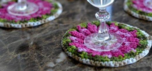 Декоративные цветочные подстаканники крючком (4)