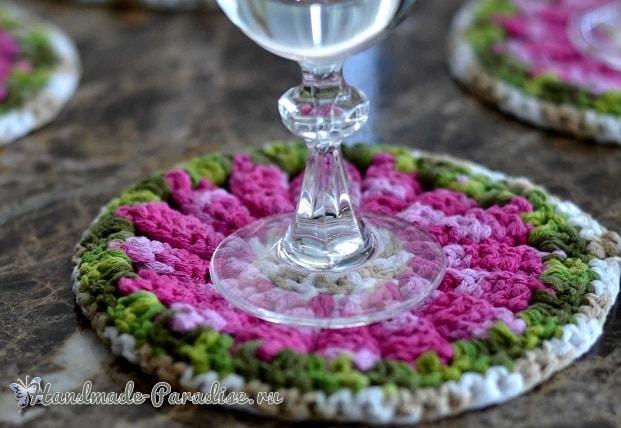 Декоративные цветочные подстаканники крючком (5)