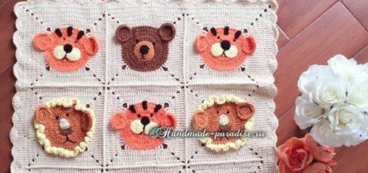 Детский плед с медведями, львами и тиграми (3)