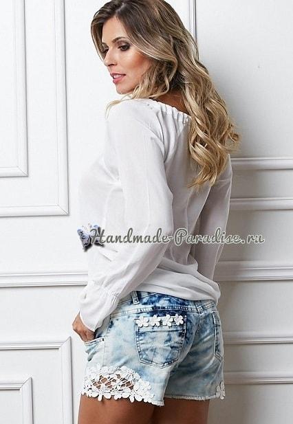 Джинсовые шорты с кружевом своими руками (1)