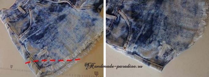 Джинсовые шорты с кружевом своими руками (3)