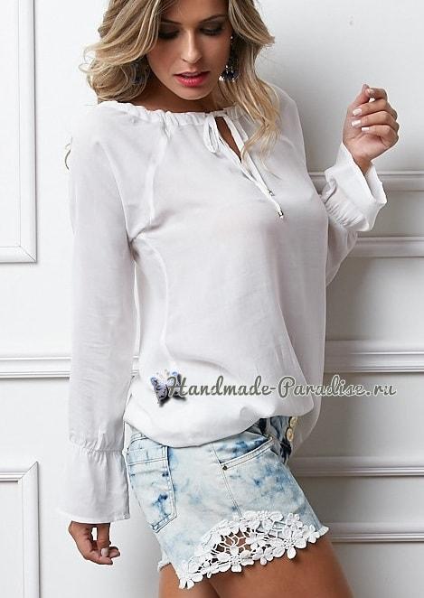 Джинсовые шорты с кружевом своими руками (7)