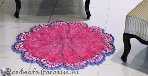 Коврик «Розовый кварц» крючком из пряжи травка (2)