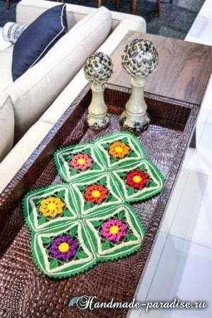 Крючком. Декоративная салфетка «Цветочный сад» (1)