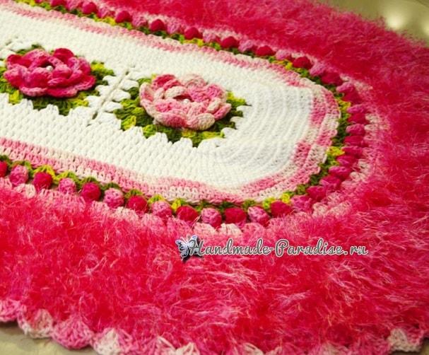 Овальный коврик с розами из пряжи «травка» (2)