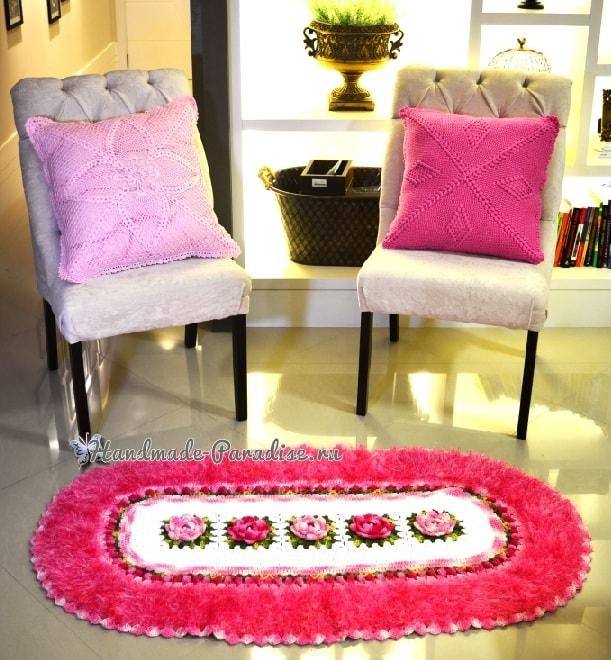 Овальный коврик с розами из пряжи «травка» (3)