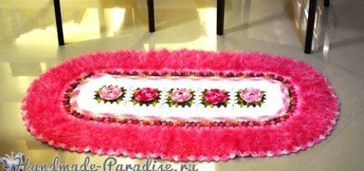 Овальный коврик с розами из пряжи «травка» (4)