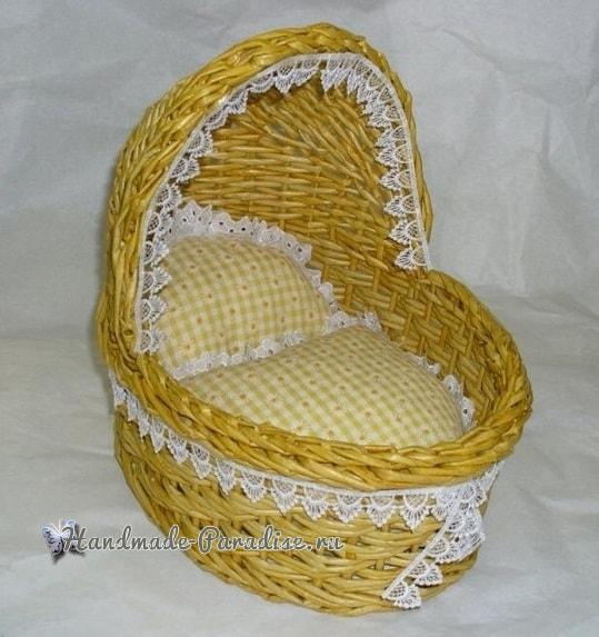 Плетение коляски - кашпо из газетных трубочек (1)