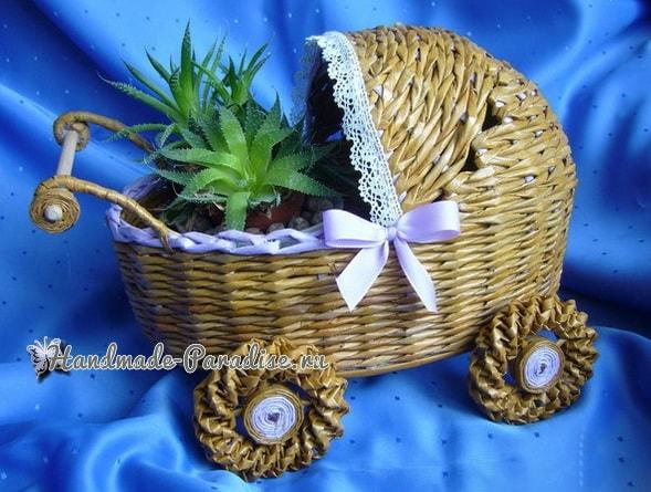Плетение коляски - кашпо из газетных трубочек (10)
