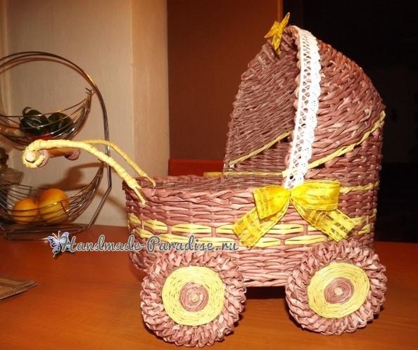 Плетение коляски - кашпо из газетных трубочек (11)