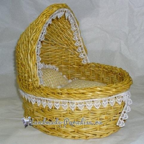 Плетение коляски - кашпо из газетных трубочек (2)