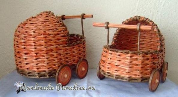 Плетение коляски - кашпо из газетных трубочек (3)
