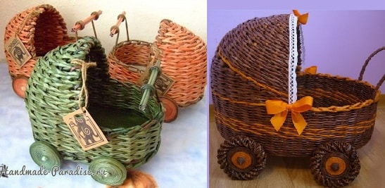 Плетение коляски - кашпо из газетных трубочек (4)