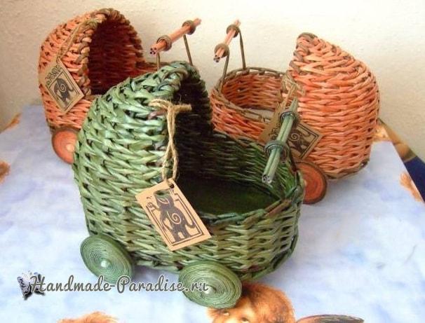Плетение коляски - кашпо из газетных трубочек (5)
