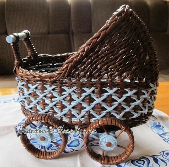 Плетение коляски - кашпо из газетных трубочек (6)