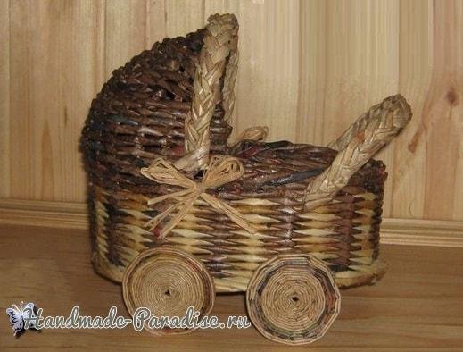 Плетение коляски - кашпо из газетных трубочек (7)