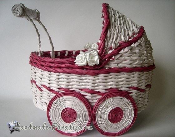 Плетение коляски - кашпо из газетных трубочек (9)