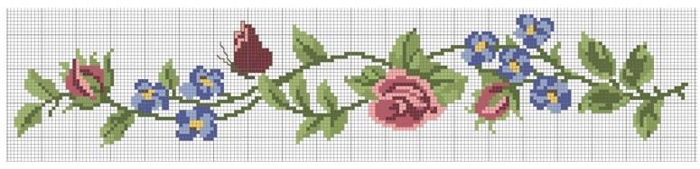 Розы и бабочка - вышивка крестом для полотенца (1)