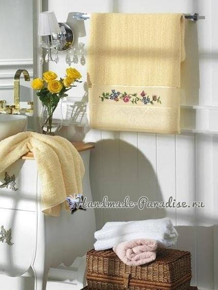 Розы и бабочка - вышивка крестом для полотенца (2)