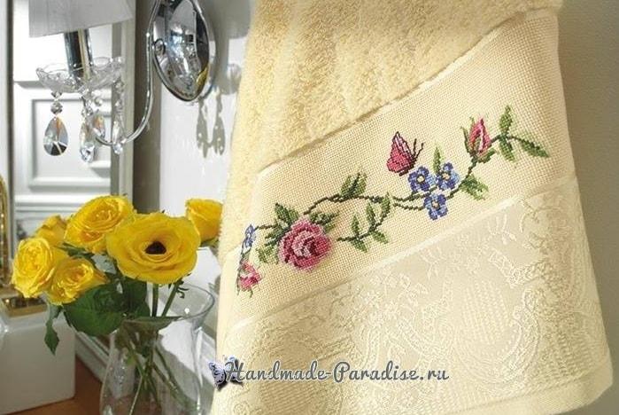 Розы и бабочка - вышивка крестом для полотенца (3)