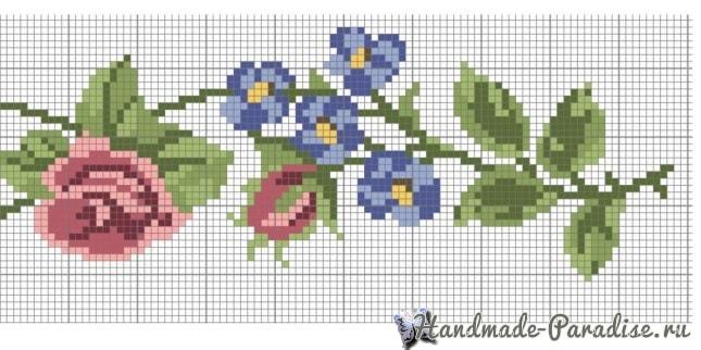 Розы и бабочка - вышивка крестом для полотенца (6)